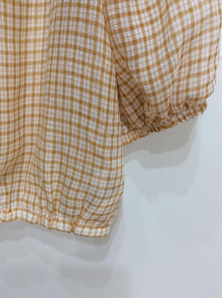 イーハイフンワールドギャラリー 七分袖ブラウス 袖口&裾ゴム入り オレンジ系×オフ白チェック サイズF_画像4
