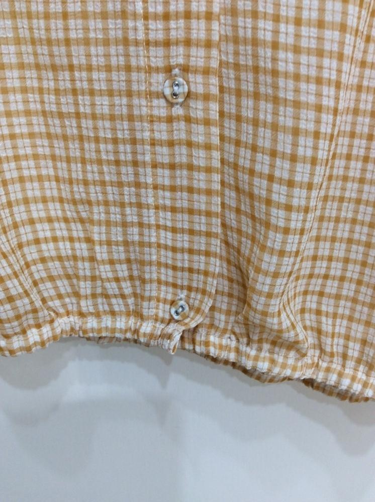 イーハイフンワールドギャラリー 七分袖ブラウス 袖口&裾ゴム入り オレンジ系×オフ白チェック サイズF_画像7