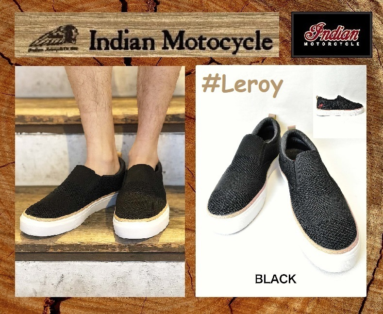 【新品】インディアンモーターサイクル スニーカー スリップオン 26cm Leroy IND-11505 ブラック 検 靴シューズ@BS@_インディアン Leroy IND-11505