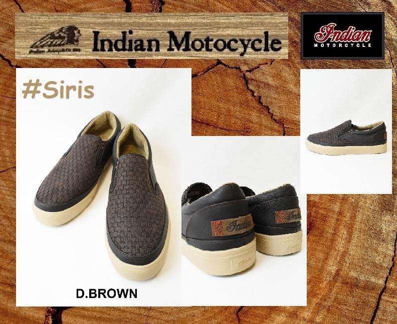 【新品】インディアンモーターサイクル スニーカー スリップオン 26cm Siris  / IND-11503 ダークブラウン 検 靴シューズ@BS@_インディアン 品番 Siris  / IND-11503