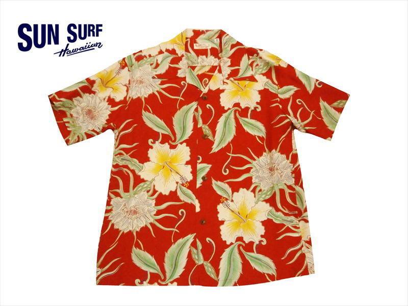 SUN SURF サンサーフ SS38045 「MOON LIGHT GARDEN」レーヨン・半袖アロハシャツ/ハワイアンシャツ レッド XL新品_画像1