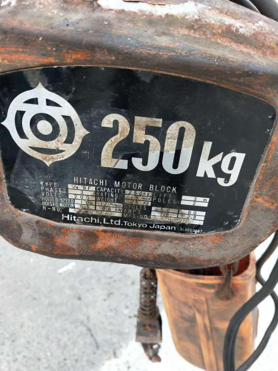 日立 HITACHI 1/4BF 電動 チェーンホイスト ウインチ 荷重 250kg 揚程3m 200V_画像2