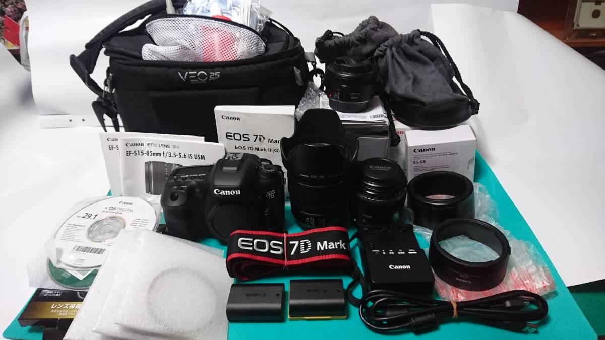 極美品【Canon/キャノン】EOS 7D Mark II (標準ズーム、マクロ、単焦レンズ)セット