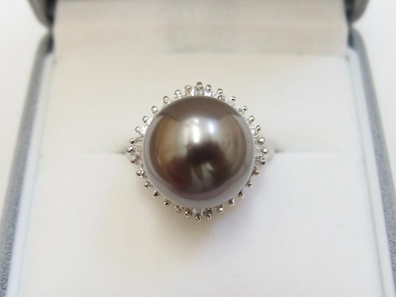 Pt900 黒真珠 12mm D0.635t 12号 リング 送料無料 /R3412_画像2