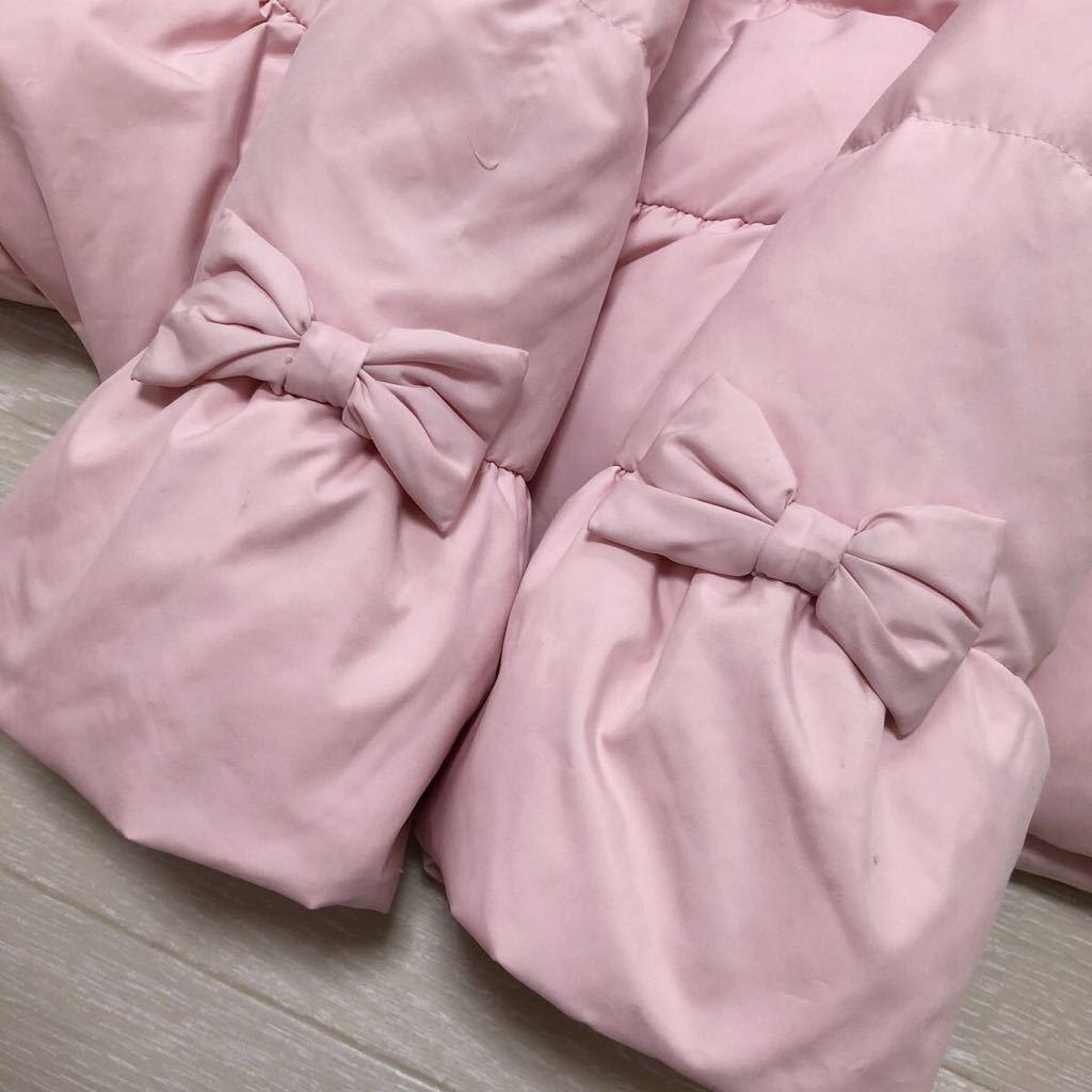 メゾピアノ mezzo piano キッズ 女の子 ダウンコート ジャンパー アウター ダウン70% ピンク リボン フードファー サイズ135cm_画像7