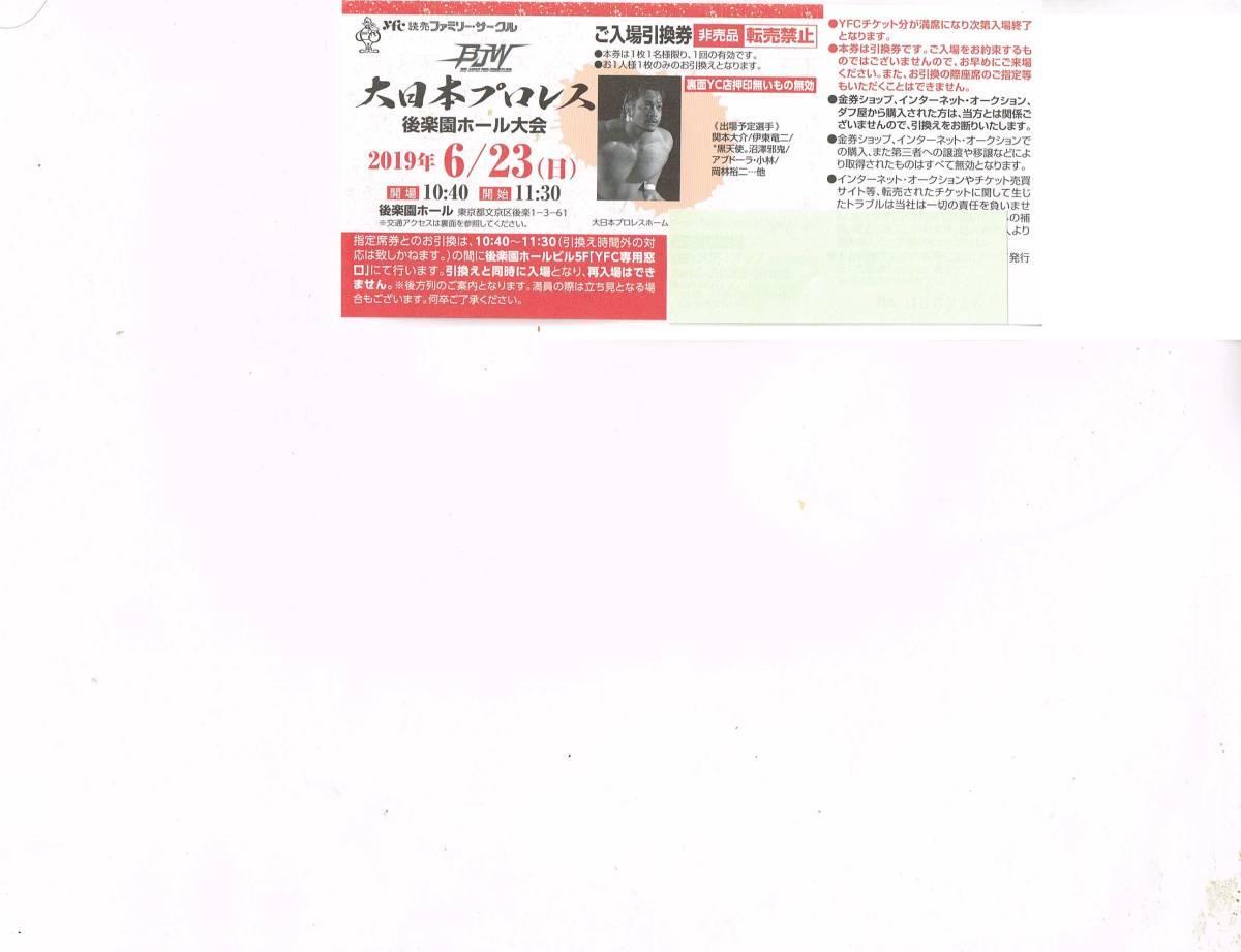 大日本プロレス 後楽園ホール大会 6/23(日)入場引換券 送料無料