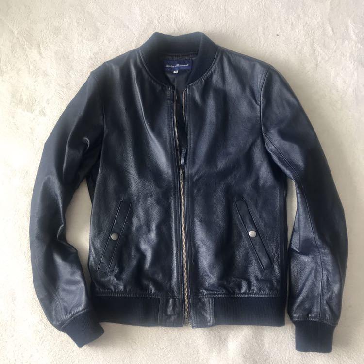 7 美品 定価6万円 今期トレンド アーバンリサーチ の ネイビーレザー ライダースジャケット