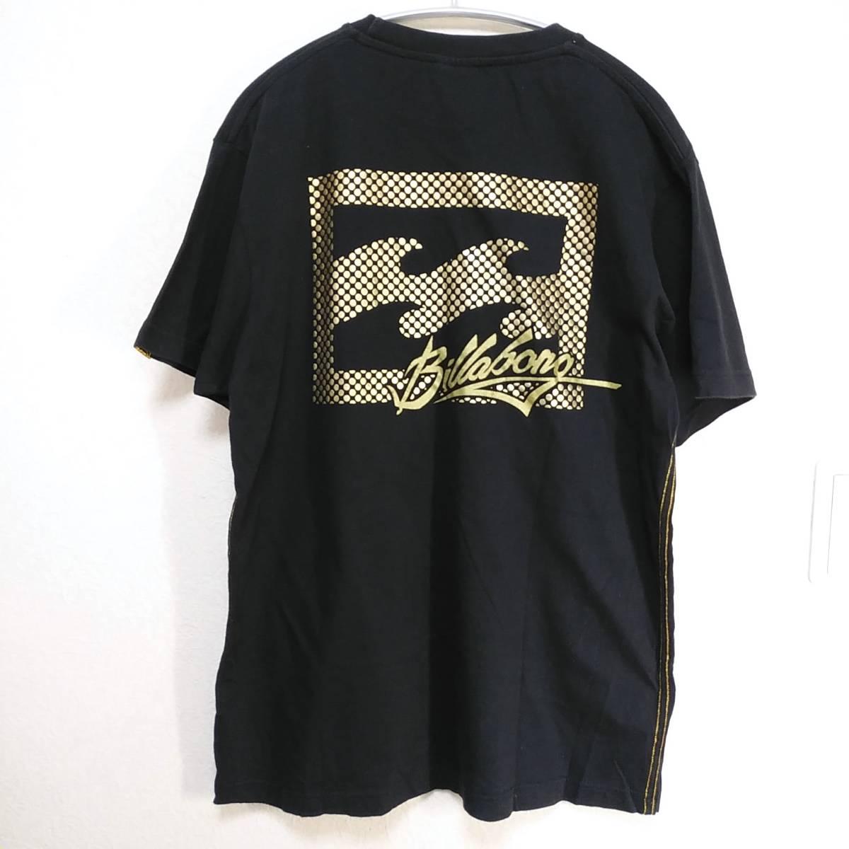 【platinum tailored by billabong】ビラボン Tシャツ メンズL ゴールド×ブラック ロゴ  190603-15333