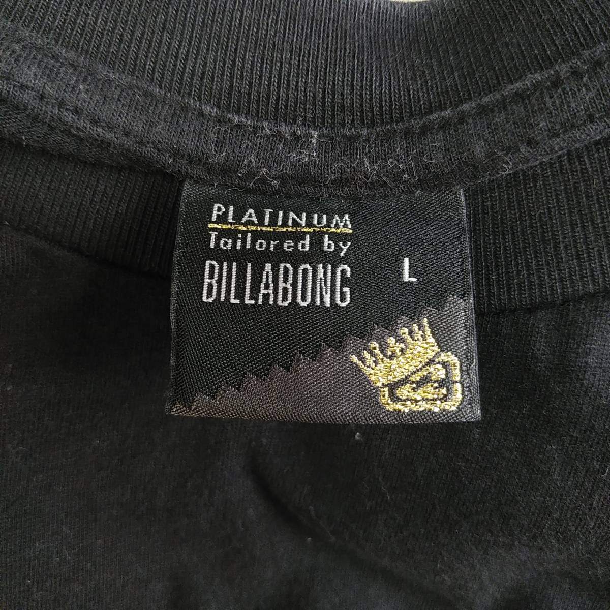 【platinum tailored by billabong】ビラボン Tシャツ メンズL ゴールド×ブラック ロゴ  190603-15333_画像6
