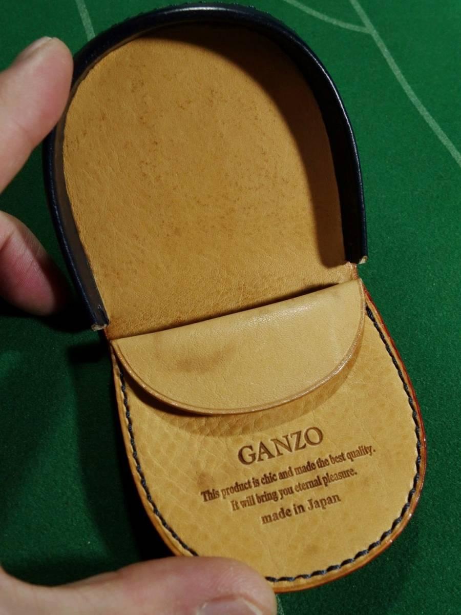 □ガンゾ GANZO ブライドルレザー 馬蹄形 コインケース ダークネイビー/レッド 美品!!!□_画像3