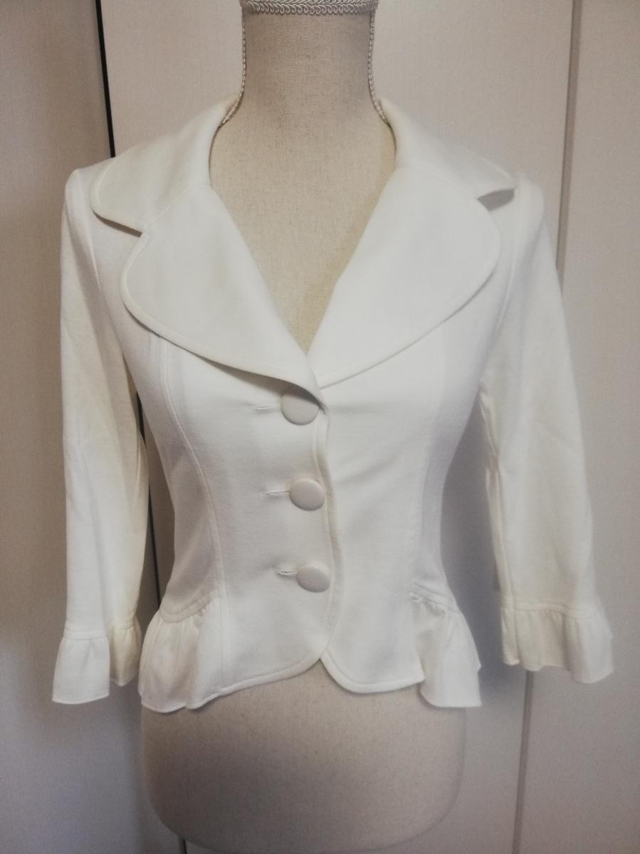 【新品タグ付き】レストローズ◆ジャージー素材裾フリルジャケット(白・ホワイト)七分袖 Mサイズ◆L'EST ROSE 伸縮性有 やわらか _画像1