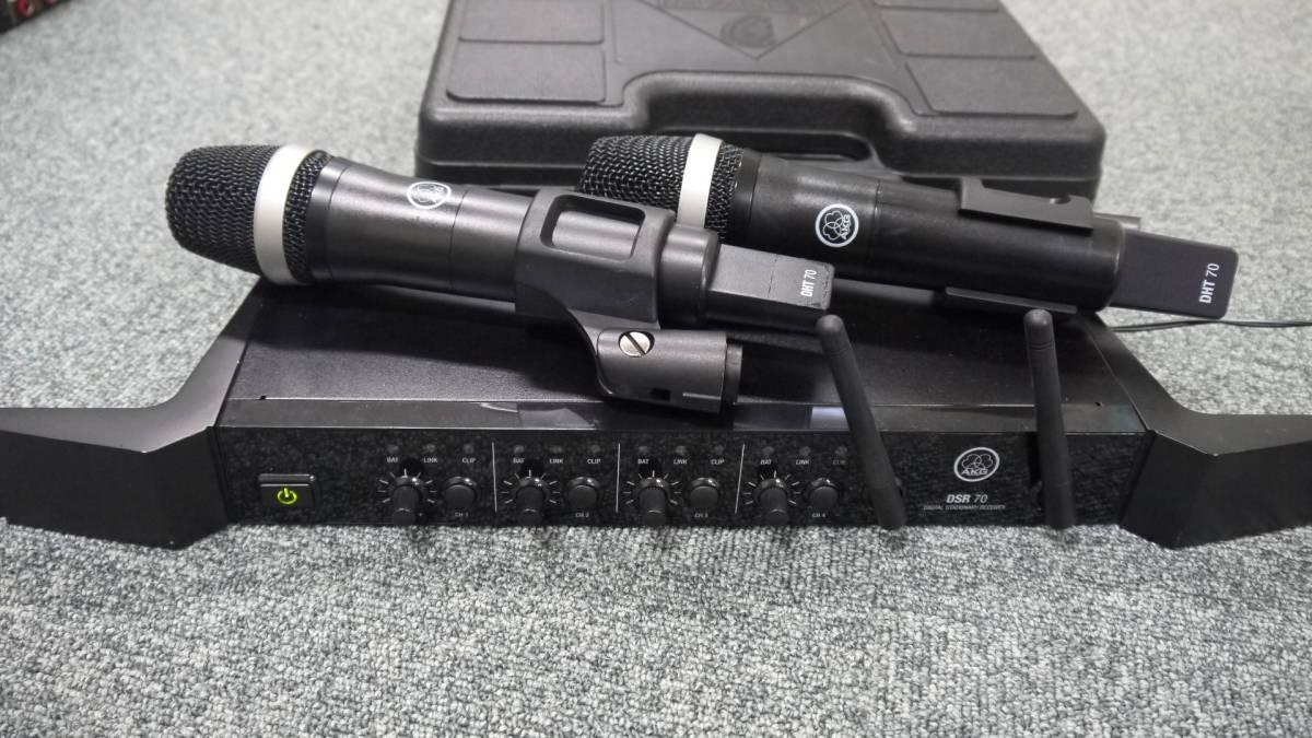 AKG デジタルワイヤレスマイクシステム DSR70+ハンドマイクDHT70/2本 セット 800Mhz