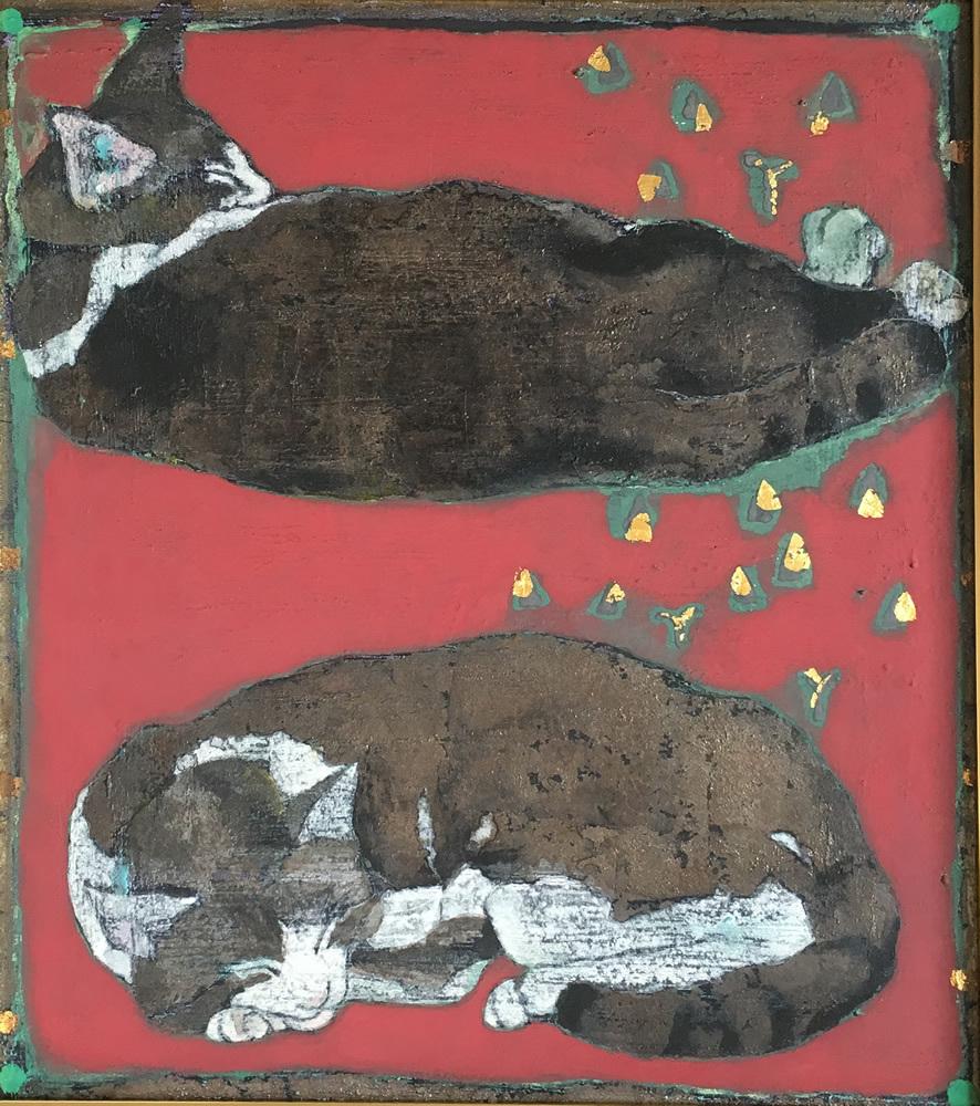 山下まゆみ「猫」YAMASHITA MAUMI/ 多摩美術大学大学院美術研究科日本画専攻修了/創画展入選/上野の森絵画大賞展入選