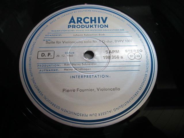 希少!美品!独アルヒーフ 初期盤 3LPBOX!フルニエ 無伴奏チェロ組曲全集 _画像4
