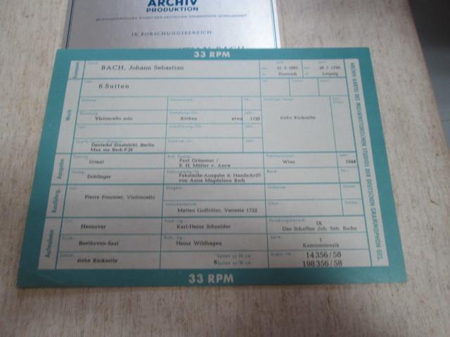 希少!美品!独アルヒーフ 初期盤 3LPBOX!フルニエ 無伴奏チェロ組曲全集 _画像5