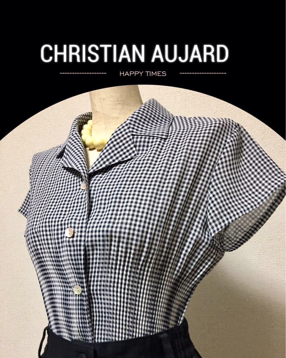 CHRISTIAN AUJARD クリスチャンオジャール ギンガムチェック シャツ ブラウス 38 半袖