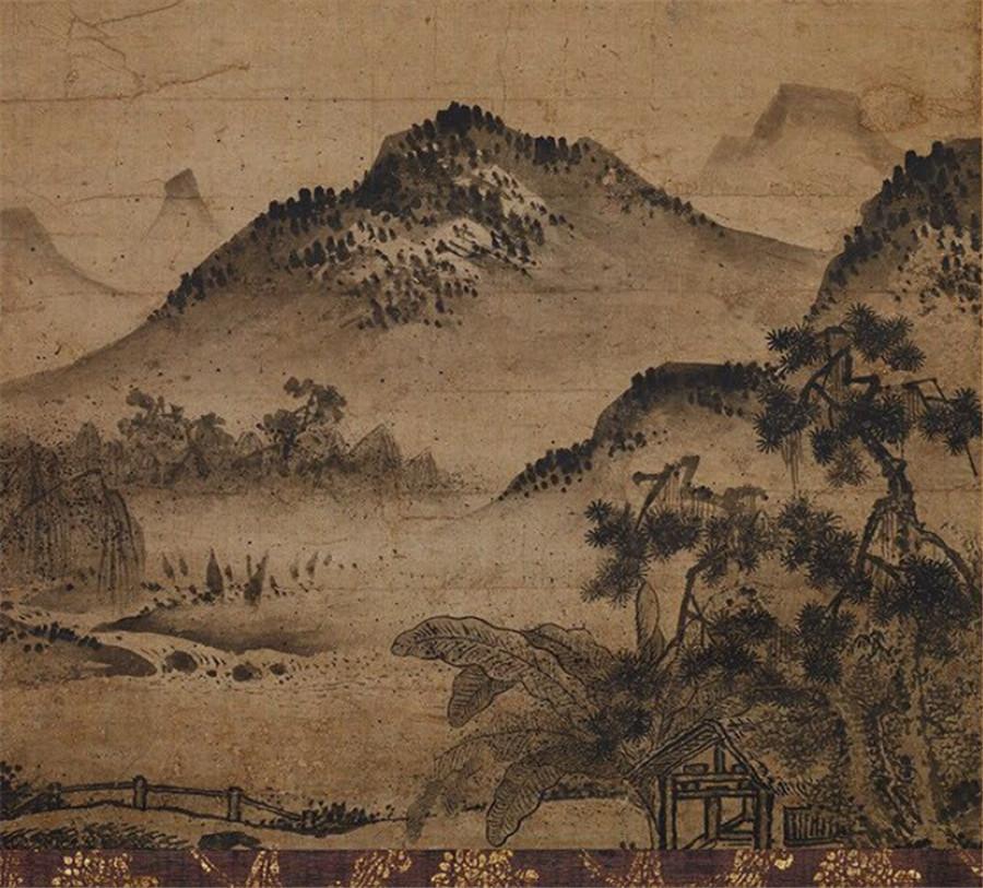 室町時代・応永17年(1410) 『芭蕉夜雨図 』 書画立軸_画像5