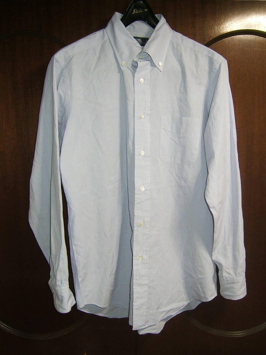 送料無用 中古 Maker's Shirt(鎌倉) ブルー白・細かいチェック長袖ワイシャツ(男性用) 16 1/2-34 42-86 綿100%