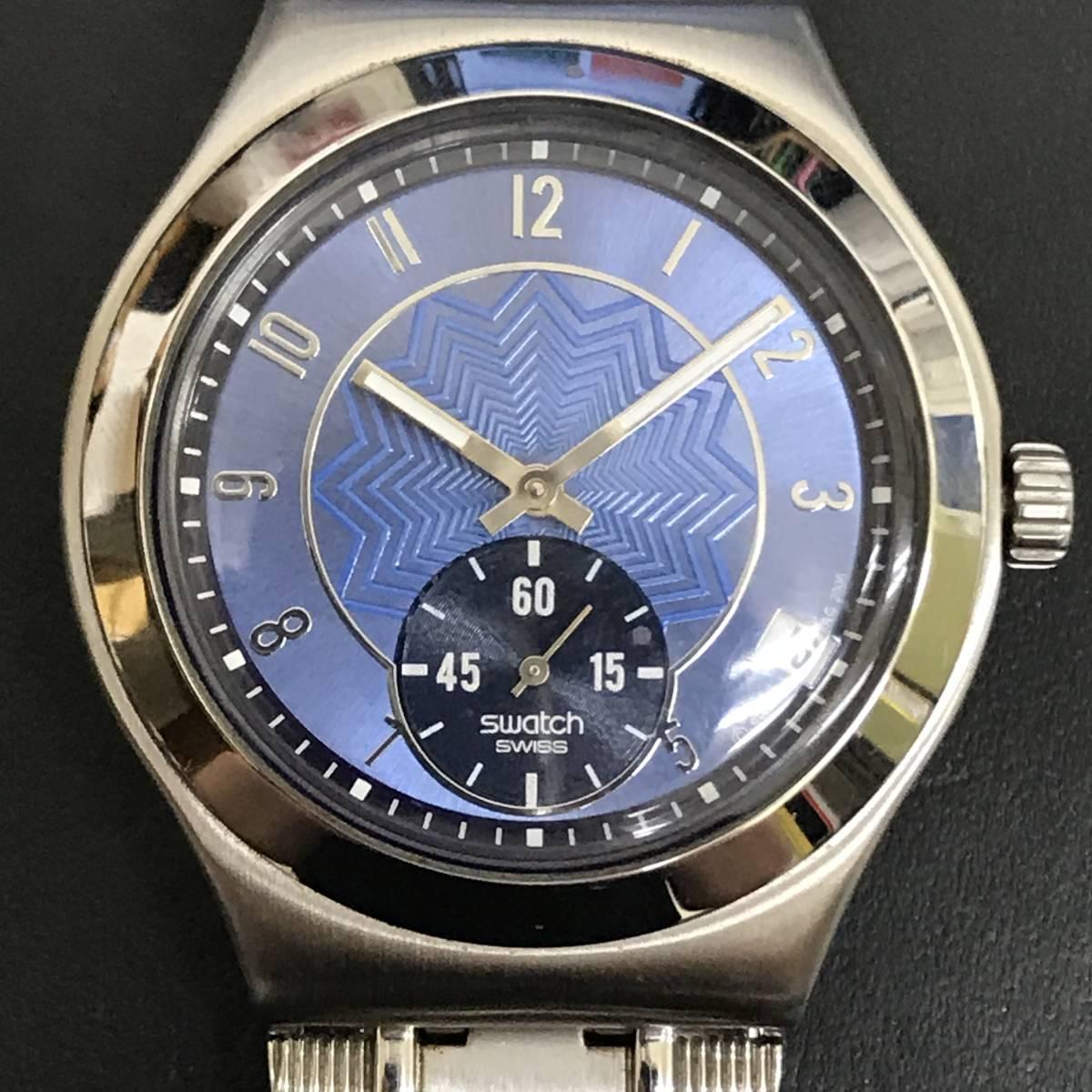 1円~■Swatch スウォッチ 腕時計 アイロニー IRONY 40mm YPS418GPU デイト クォーツ ステンレス 可動品 ケース 取説 保証書付_画像2