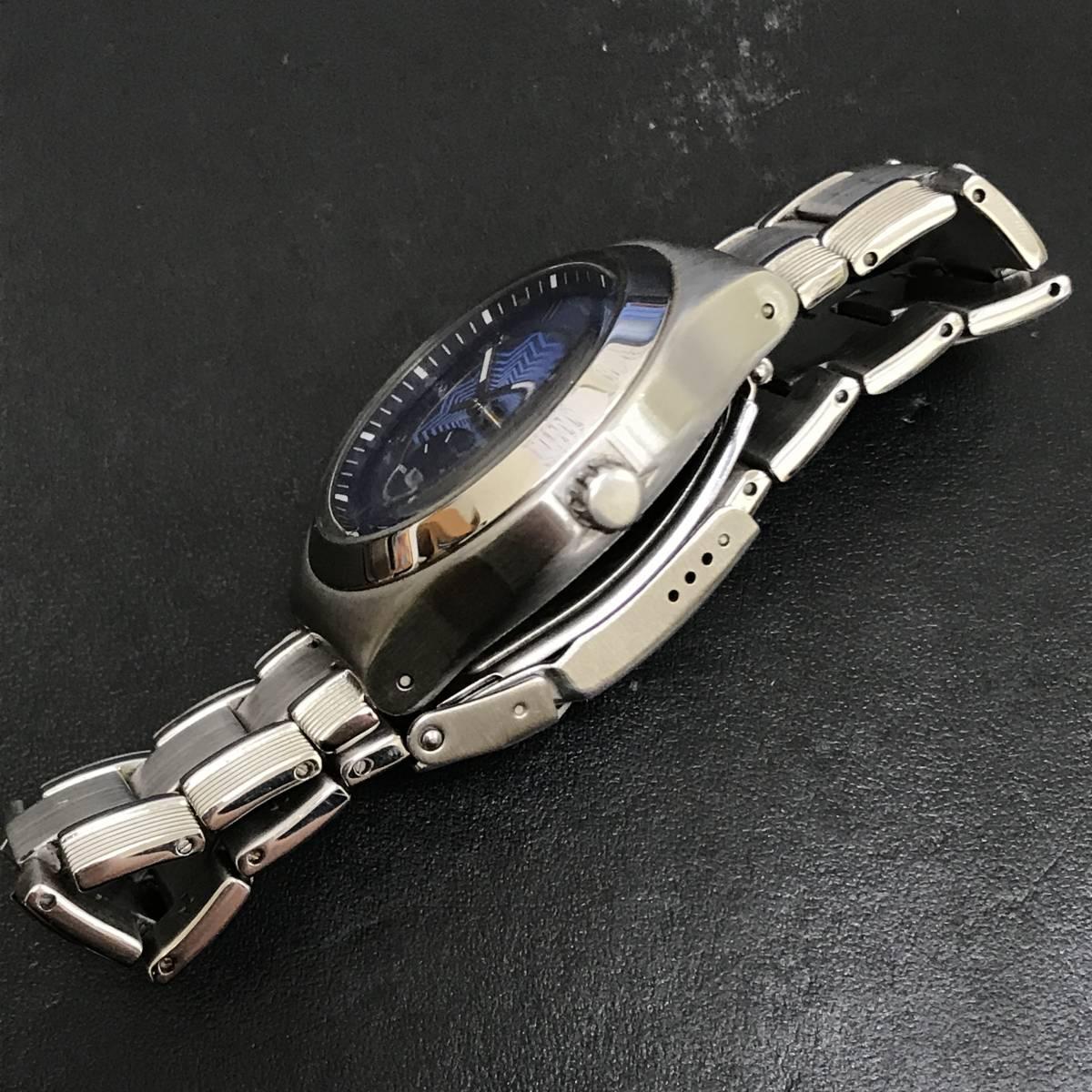 1円~■Swatch スウォッチ 腕時計 アイロニー IRONY 40mm YPS418GPU デイト クォーツ ステンレス 可動品 ケース 取説 保証書付_画像3