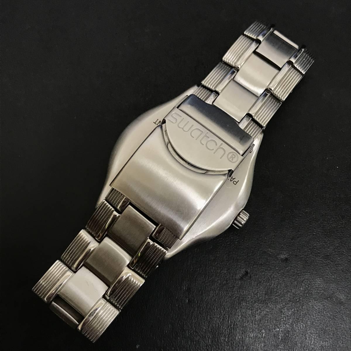 1円~■Swatch スウォッチ 腕時計 アイロニー IRONY 40mm YPS418GPU デイト クォーツ ステンレス 可動品 ケース 取説 保証書付_画像5