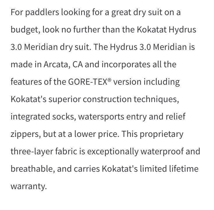 Kokatat Meridian Drysuit (Hydrus3.0) ドライスーツ 新品未使用_画像7