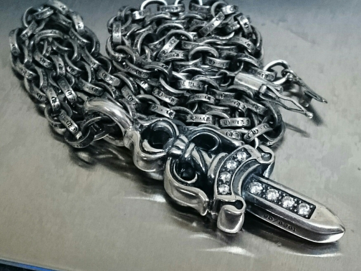正規2点セット 54.66g クロムハーツ ダブルダガーペンダント ダイヤpave ペーパーチェーンネックレス 50cm_画像2
