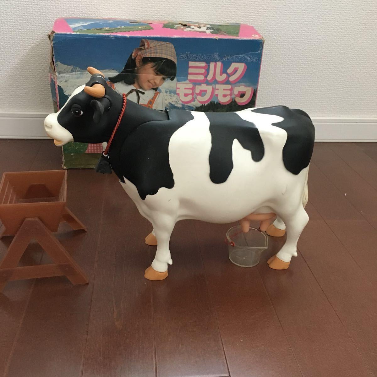 入手困難!ミルクモウモウ ツクダオリジナル 昭和レトロ ビンテージ玩具 MILK MOUMOU 知育玩具 牛 フィギュア ホルスタイン乳牛 搾乳_画像1
