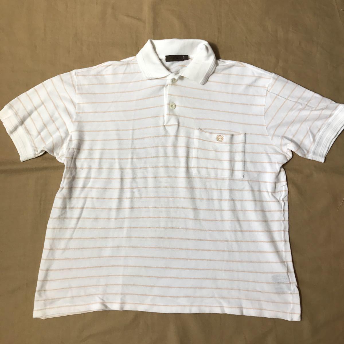 メンズ LOEWE◇ロエベ★半袖ポロシャツ・XL★白×ボーダー