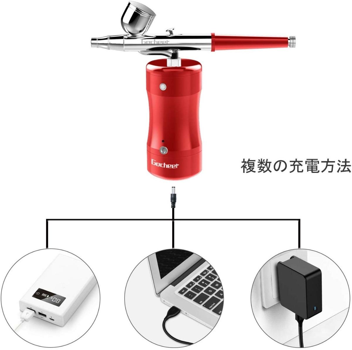 新品未使用 エアブラシ コンプレッサー USB充電ライン オイルレス シングルアクションエアブラシ付きPS-1/8 日本語取扱説明書_画像6