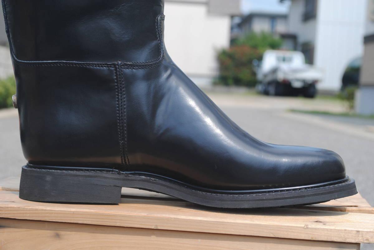 新品 ヨーロッパ風 イギリス調 乗馬靴 バイク警察 ナチス・ドイツ将校用長靴ブーツ ポロブーツ 黒牛革 ノンスリップ底 25cm_画像5