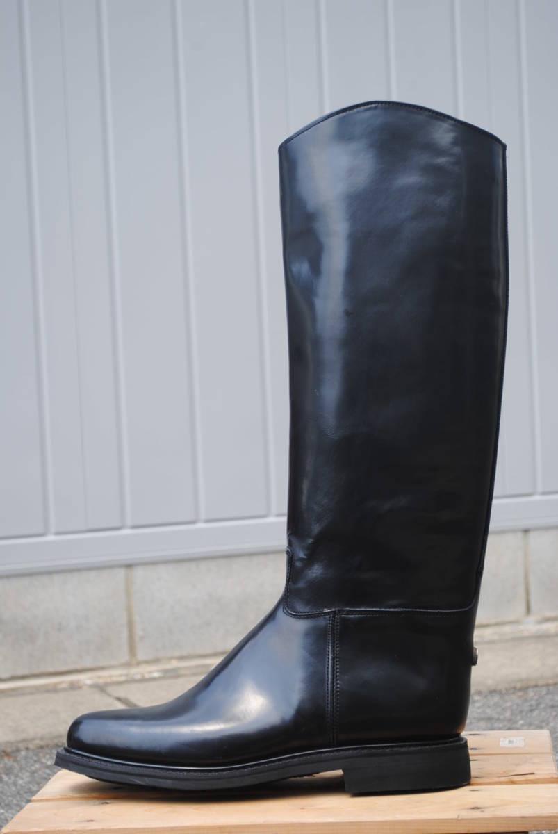 新品 ヨーロッパ風 イギリス調 乗馬靴 バイク警察 ナチス・ドイツ将校用長靴ブーツ ポロブーツ 黒牛革 ノンスリップ底 25cm_画像3