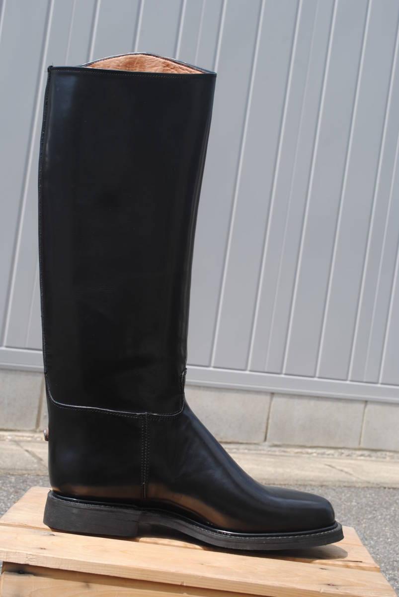 新品 ヨーロッパ風 イギリス調 乗馬靴 バイク警察 ナチス・ドイツ将校用長靴ブーツ ポロブーツ 黒牛革 ノンスリップ底 25cm_画像4