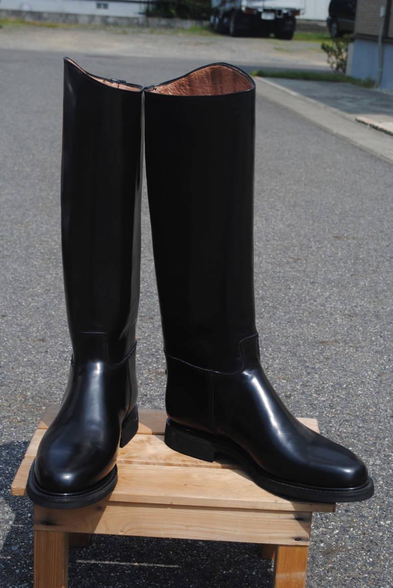 新品 ヨーロッパ風 イギリス調 乗馬靴 バイク警察 ナチス・ドイツ将校用長靴ブーツ ポロブーツ 黒牛革 ノンスリップ底 25cm_画像1