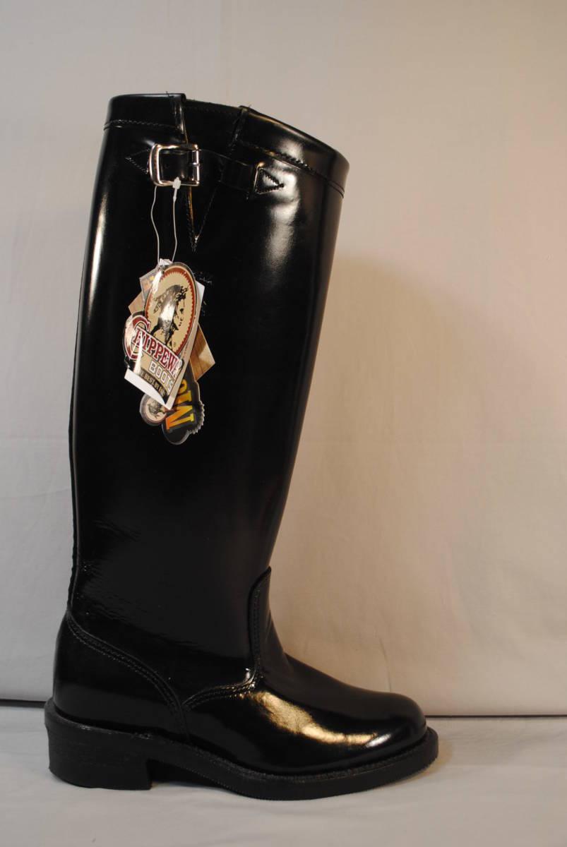 新品 在処分品 アメリカ製 チペワ 黒牛革 ポリス 乗馬 バイク用 ロングブーツ 品番71419 ビブラム底 9.5D_画像2