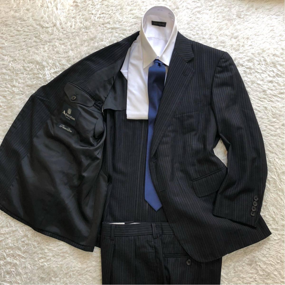 【英国感漂う1着】 アクアスキュータム 2B シングル スーツ 美品 M~Lサイズ相当_画像3
