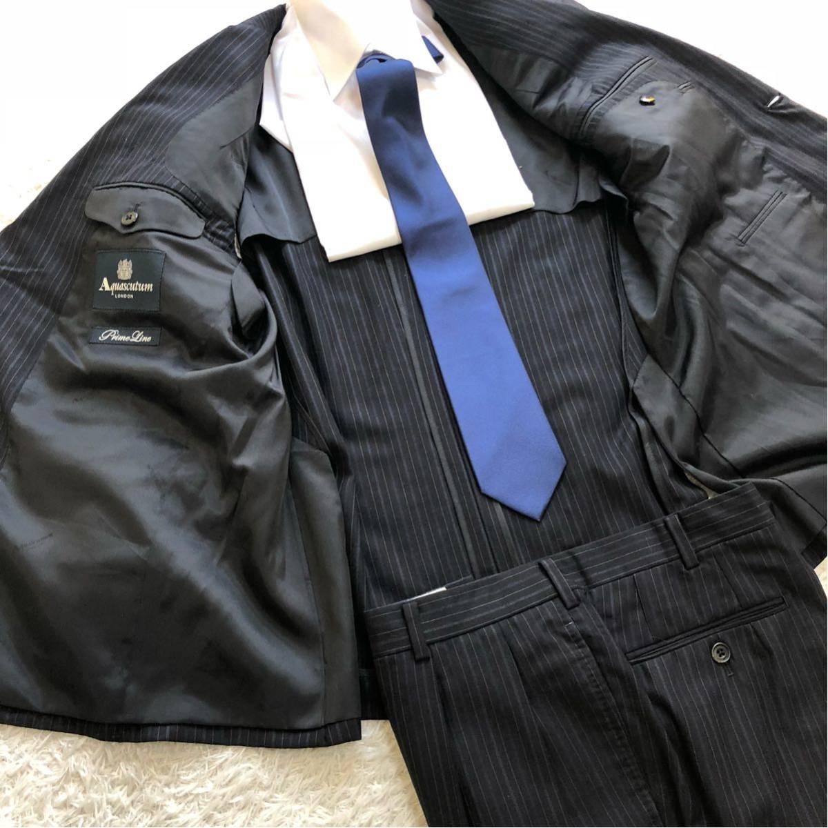 【英国感漂う1着】 アクアスキュータム 2B シングル スーツ 美品 M~Lサイズ相当_画像5