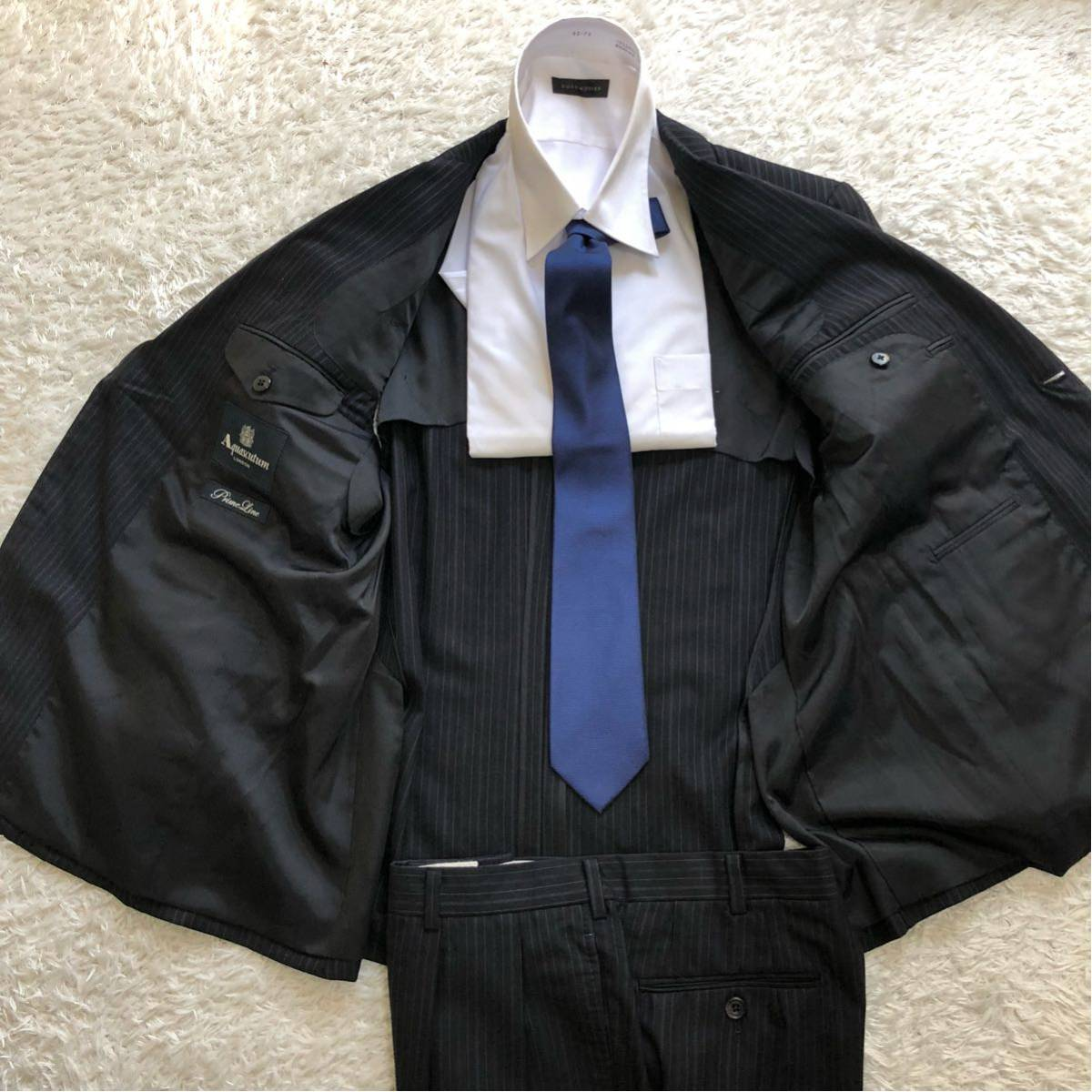 【英国感漂う1着】 アクアスキュータム 2B シングル スーツ 美品 M~Lサイズ相当_画像4