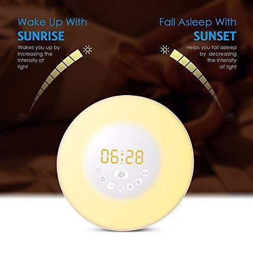 【1円セール】 |Powproホワイト Wake Up Light 光+音 目覚まし時計 自然音ウェイクアップライト 朝日模擬光 タッチコントロール_画像6