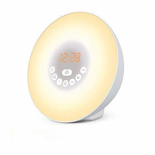 【1円セール】 |Powproホワイト Wake Up Light 光+音 目覚まし時計 自然音ウェイクアップライト 朝日模擬光 タッチコントロール