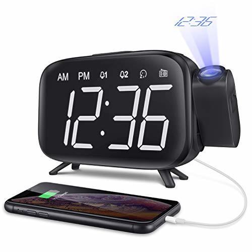 【1円セール】 |目覚まし時計 投影 デジタル時計 FMラジオ スヌーズ機能 投影180°回転可能 壁 天井 LED画面 三階段の明るさ USB給電