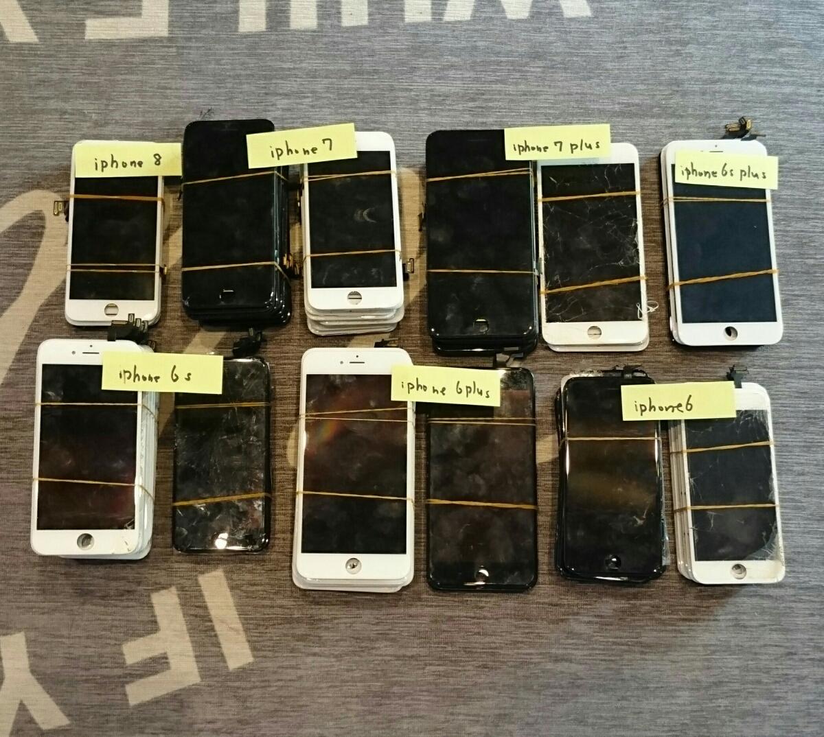 iPhone8/7Plus/7/6sPlus/6s/6Plus/6用液晶パネル113枚ジャンク品まとめ売りセット