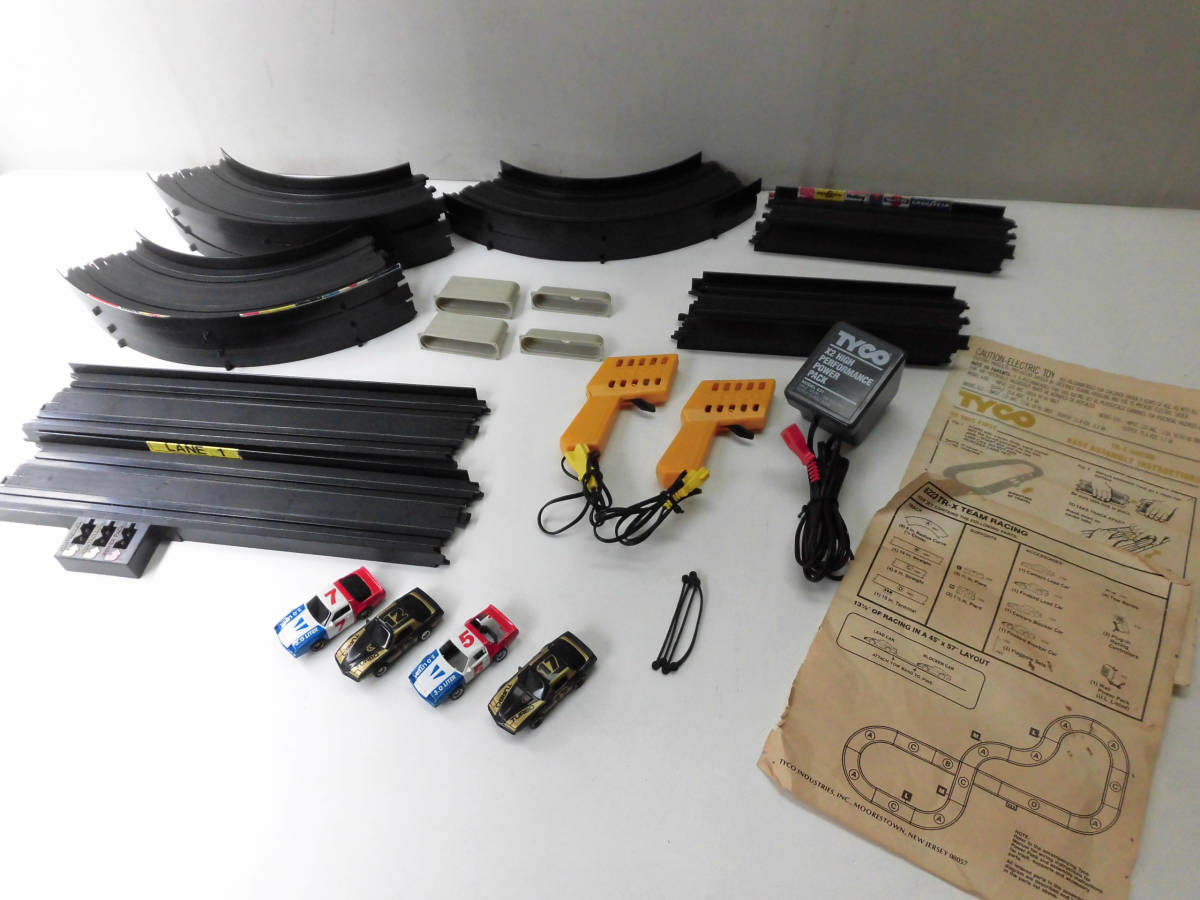 ■TYCO TR-X 4-DAR TEAM RACING スロットカー セット レトロ ビンテージ 香港製