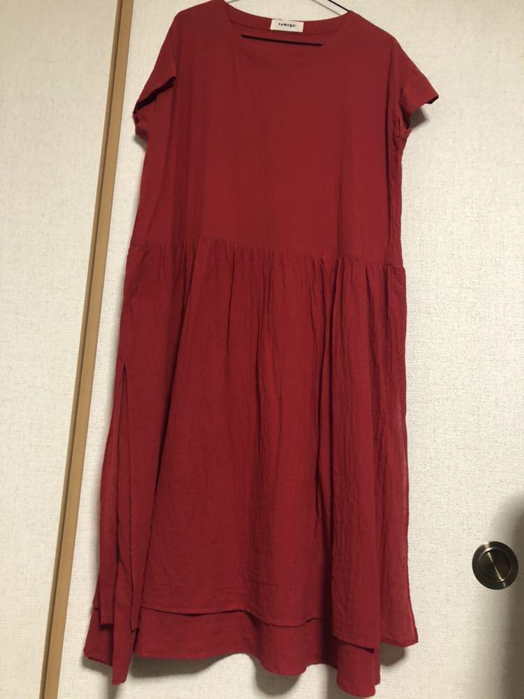 18ss tumugu:レッドワンピース 二重スカート