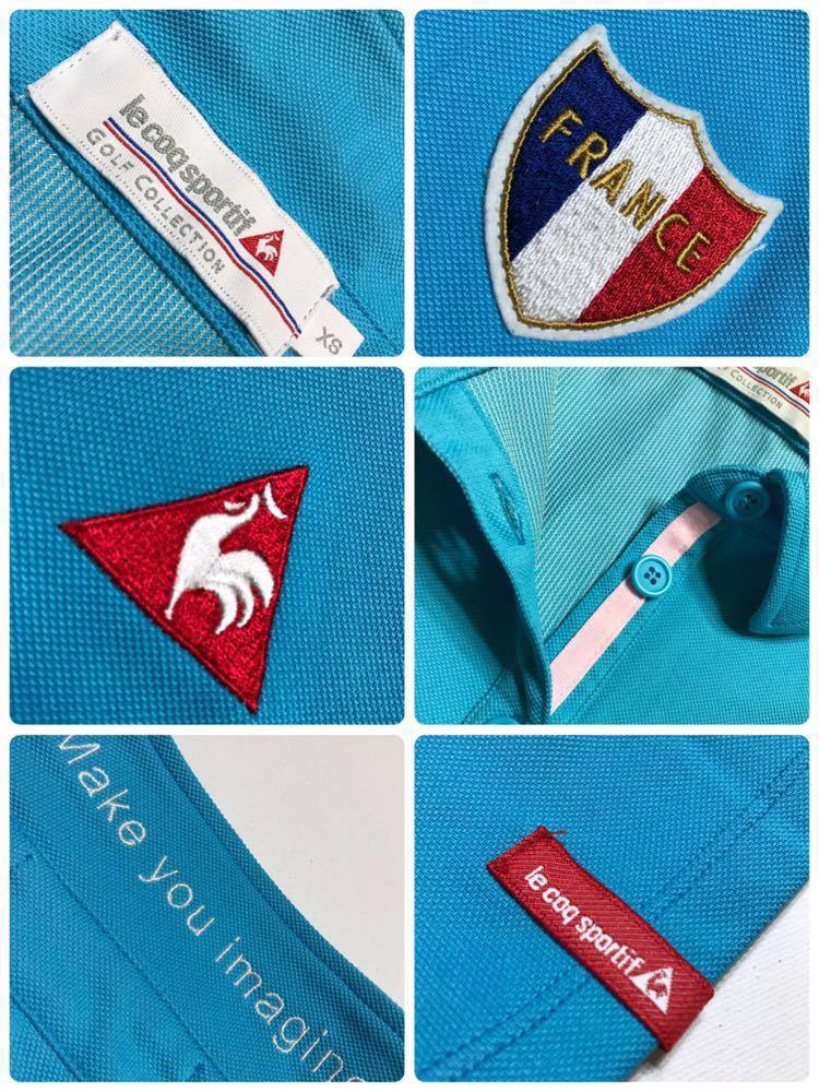 【美品】 le coq sportif GOLF COLLECTION ルコック ゴルフ レディース ウェア ドライ ポロシャツ トップス サイズXS 半袖 水色 QGL1711_画像5