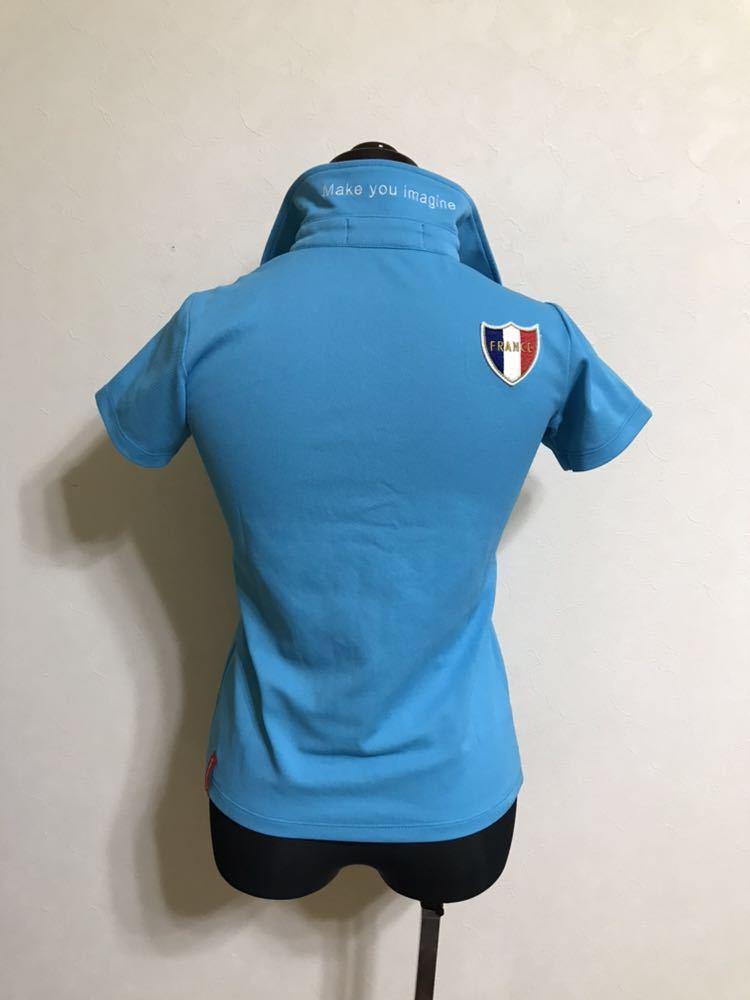 【美品】 le coq sportif GOLF COLLECTION ルコック ゴルフ レディース ウェア ドライ ポロシャツ トップス サイズXS 半袖 水色 QGL1711_画像2