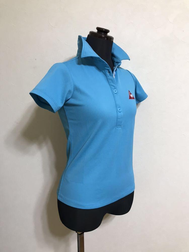 【美品】 le coq sportif GOLF COLLECTION ルコック ゴルフ レディース ウェア ドライ ポロシャツ トップス サイズXS 半袖 水色 QGL1711_画像8