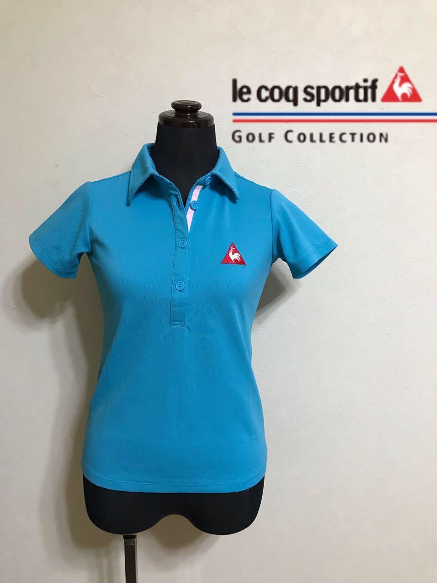 【美品】 le coq sportif GOLF COLLECTION ルコック ゴルフ レディース ウェア ドライ ポロシャツ トップス サイズXS 半袖 水色 QGL1711_画像1