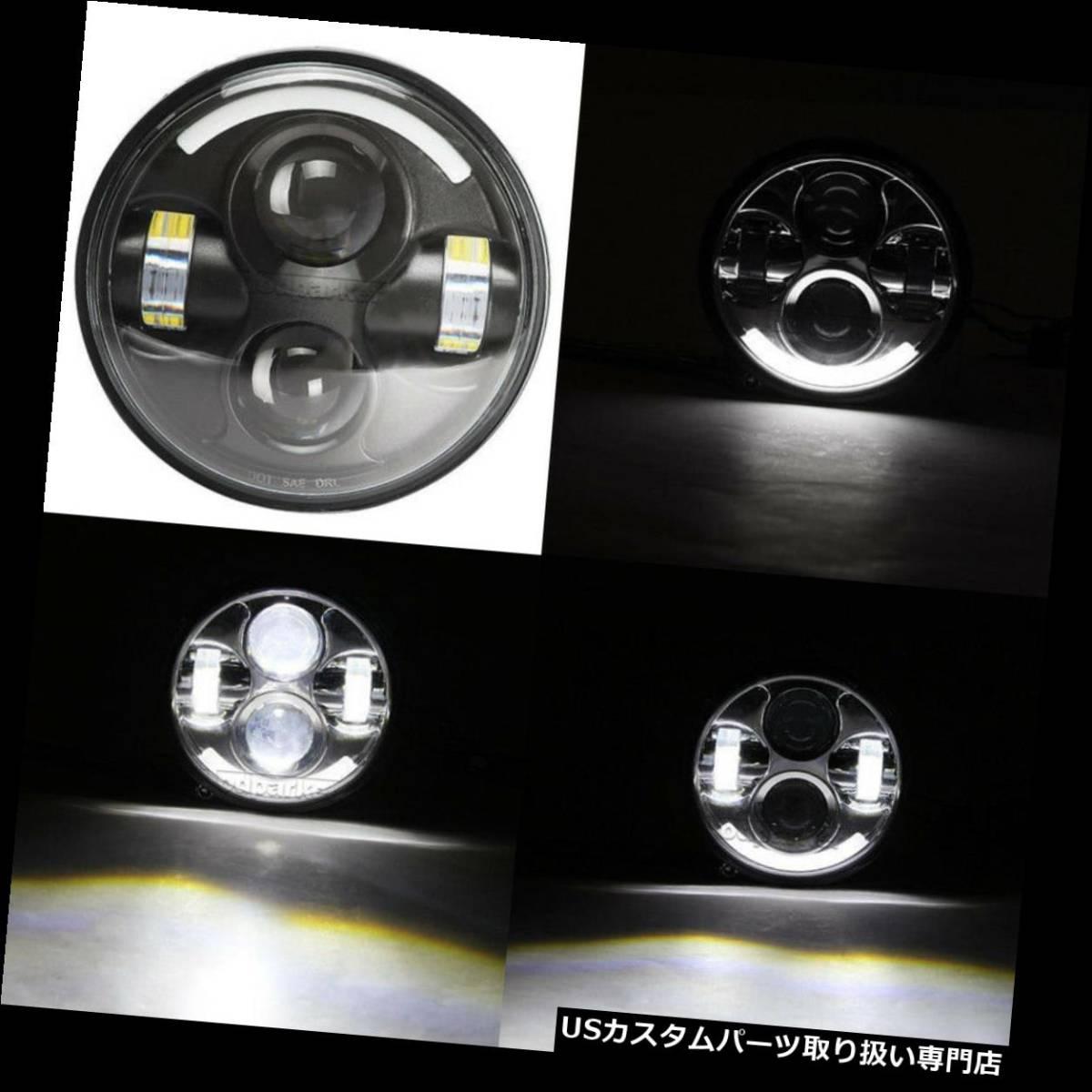 """USヘッドライト 5.75 """"LEDハイローTPプロジェクターヘッドライトハーレースポーツスターXL 1200 883 H4にフィ_画像1"""