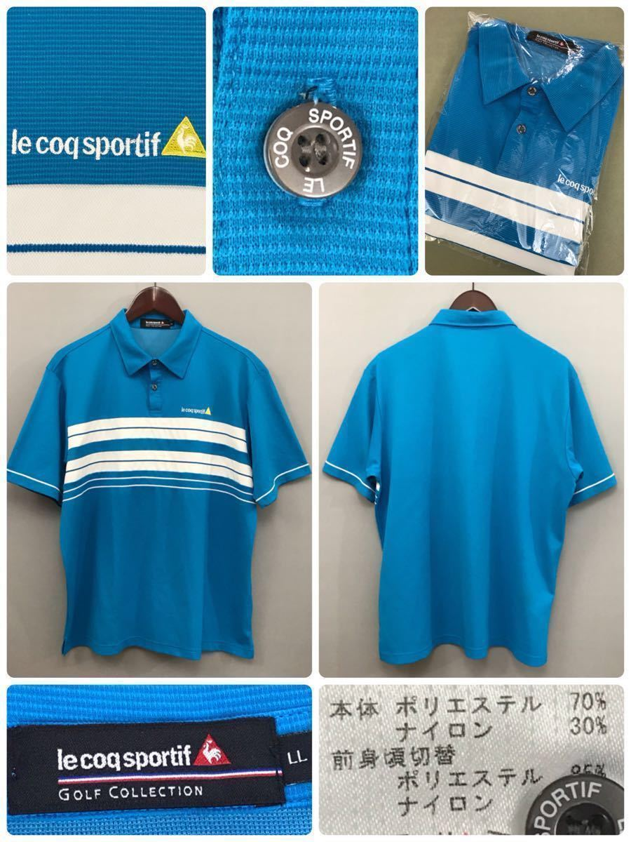ルコック le coq sportif ルコックスポルティフ ドライポロシャツ メンズ 半袖 ゴルフウェアー LLサイズ ~◯_画像2